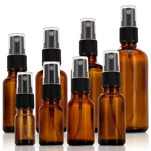 OVAREO Juego de botellas de cristal marrón con pulverizador para aceites esenciales, frascos de farmacia, para cosméticos portátiles, maquillaje, agua, líquido de viaje