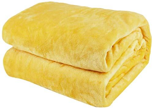 Miwaimao Manta de franela de cachemir negra para el hogar, mantas mullidas, mantas cálidas y sofá para mascotas, elegante y cómoda manta de franela de cachemira negra de 150 x 200 cm, amarillo 240.