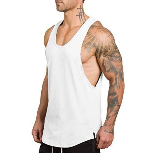Gym Stringer Clothing Bodybuilding Tank Top Hombres Fitness Singlet Camisa sin Mangas Algodón sólido Chaleco sin Mangas Camiseta Interior - Blanco, L
