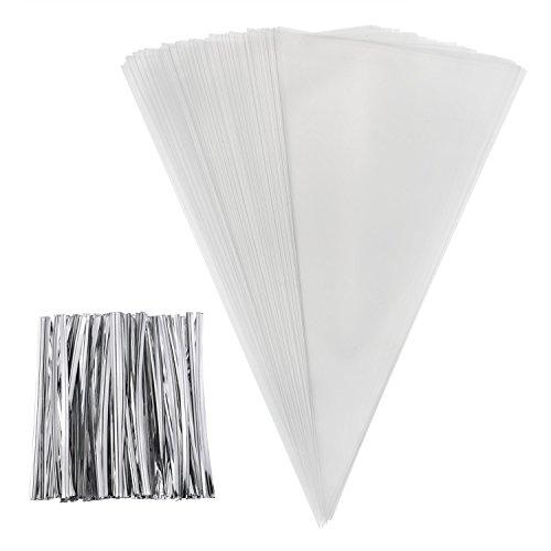 100 Mittelgroß Klare Cone Cello Taschen Geschenkchen Süßigkeitentüten und 100 Silber Twist Ties, 11,8 x 6,3 Zoll