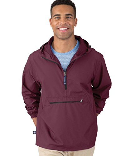 Charles River Apparel Pack-N-Go Wind & Water-Resistant Pullover (Reg/Ext Sizes), Maroon, S