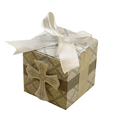 Kingsley 50 unidades. Caja con cruz. Decoración vintage para cajas regalo con caramelos, peladillas, señaladores, Accesorios vintage incluidos