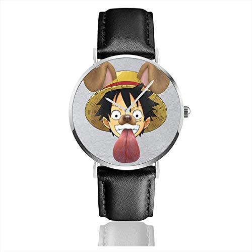 Unisex One Piece Monkey D Ruffy Hund Snapchat Filter Uhren Quarz Lederuhr mit schwarzem Lederband
