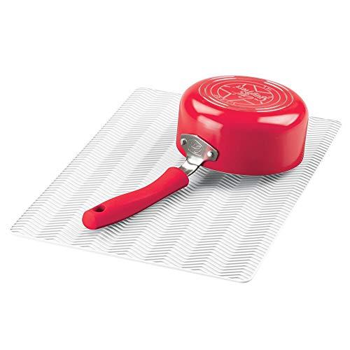 mDesign Alfombrilla antideslizante de silicona – Práctico tapete escurridor con dibujo de espiga para ollas y vajilla – Escurreplatos para la cocina apto para lavavajillas – blanco