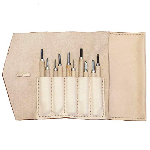 Alta Andina Leather Pen & Pencil Case   Vegetable Tanned Leather Roll Up   5 Slots & Pouch for Pens, Brushes   Art, Stationary, & Makeup Organizer (Beige – Natural))