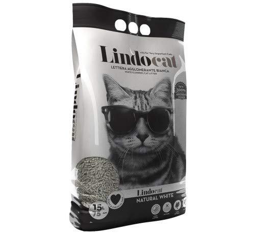 Lindocat Natural White Lettiera Gatto Gatti 100% Naturale alla Bentonite Agglomerante 15 Litri