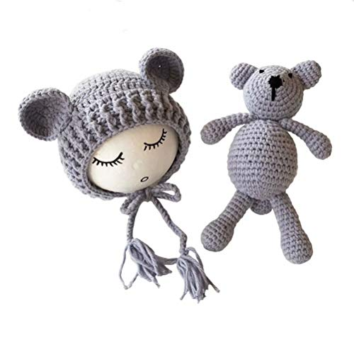 Frecoccialo Unisex Neugeborene Fotografie kostüm Gestrickte Mütze und Puppe Set Fotoshooting Requisiten Funny Bekleidung (0-4M)