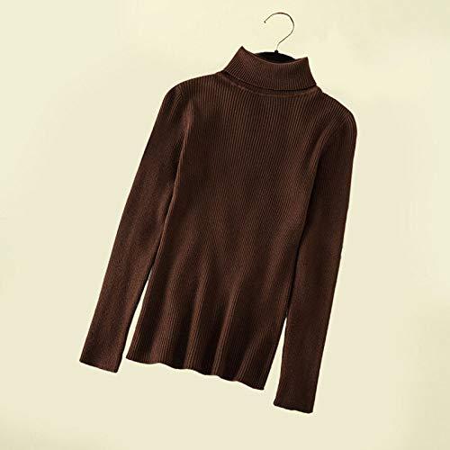 QINGNIU Pullover,Herbst Damen Rollkragenpullover Frühlingspullover Strick Basic Fashion Langarm Koreanische Kleidung Dunkelbraun
