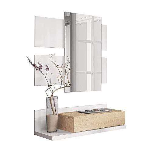 Mobelcenter - Recibidor con cajón y Espejo - Mueble de Recibidor Estilo Moderno - Mueble de Entrada Color Roble Canadian y Blanco Artik - Medidas: Ancho: 75 cm x Alto: 116 cm x Fondo: 29 cm - (0900)