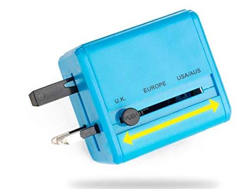 XZYP Adaptador De Viaje, Cargador De Pared De La Corriente Internacional Universal con 2 USB, Todo En Un Adaptador para Europa, Reino Unido, EE.UU, AU, Asia Y Más, 2100Ma,Azul