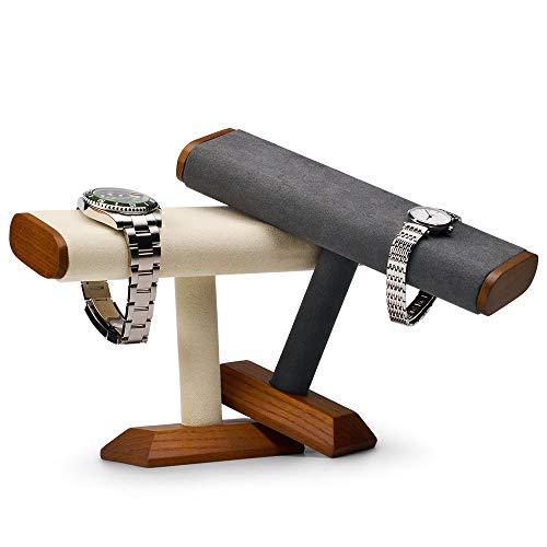 Oirlv純木Tバー時計ディスプレイスタンドジュエリーオーガナイザーホルダーウォッチブレスレットカウンタートップテーブルトップジュエリータワー(グレー)