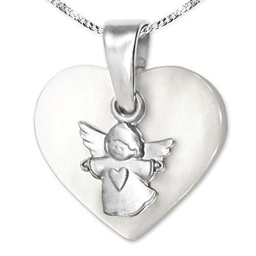 CLEVER SCHMUCK-SET ciondolo bambino angelo Matt su Cuore in madreperla 12X 14mm lucido e catena viennagold 42cm in argento 925