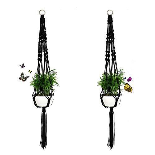 TimooGLC Lot de 2 Plante Cintre Panier, 104,1 cm macramé Pot de fleurs à suspendre pour plantes support Panier pour intérieur ou extérieur, 4 pieds Corde en nylon avec bague en métal, Noir