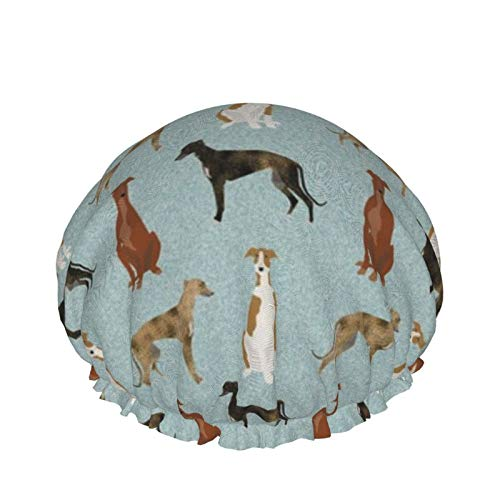 Duschhaube, extra große und verstellbare und doppelschichtige wasserdichte Haarkappe für Frauen (Greyhound Pet Quilt B Koordinate Kindergarten Hundedecke)