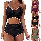 Semoatuc Bikini para mujer, parte superior, push up de corte alto, con cordones, juego de bikini de dos piezas de cintura alta, braguita de bikini, parte inferior de bikini. Negro L