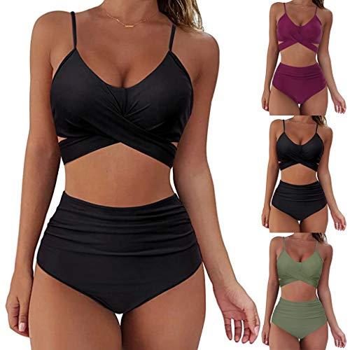 YLLQXI Bikini Damen Push Up Set Damen Bikini Set Bikini Panty High Cut Badeanzug High Waist Crossover Bademode Bikinihose Sexy V Ausschnitt Sportlich Zweiteiliger Strandbikini