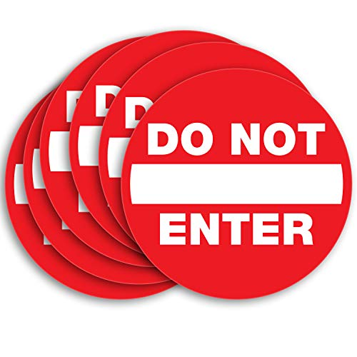 Do Not Enter Signs Stickers – 6 Pack 5x5 Inch – Premium Self-Adhesive Vinyl, Laminated for UV, Weather, Scratch, Water & Fade Resistance, Indoor & Outdoor