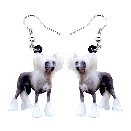 NEWEI Acrylic Chinese Crested Sweet Dog Earrings Drop Dangle Jewelry For Girl Women Gift Charms