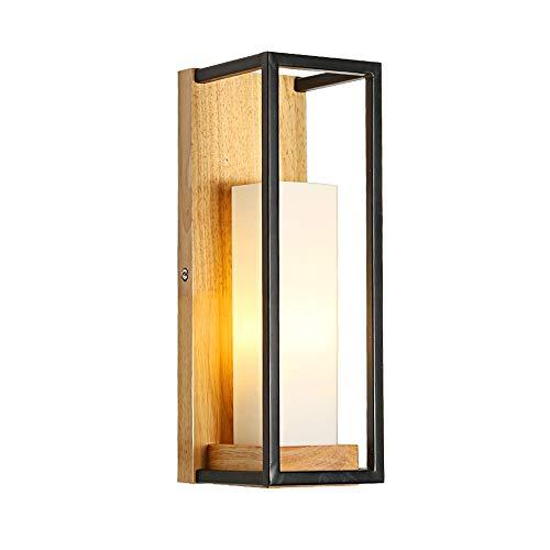KMYX Warm Glasschirm Wandleuchte Moderne Holz Kerzenständer Wand Laterne Gang Korridor Wandleuchten Schlafzimmer Studie Wandleuchte E27