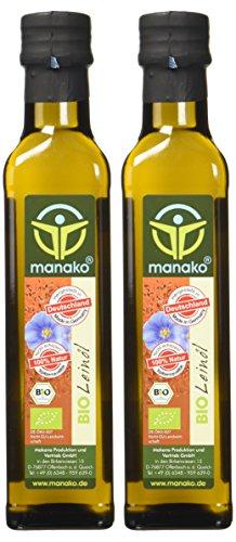 Manako BIO Leinöl human 2×250 ml ABSOLUT FRISCH ab Ölmühle Glasflasche, 1er Pack (1 x 500 ml) – Bio - 4