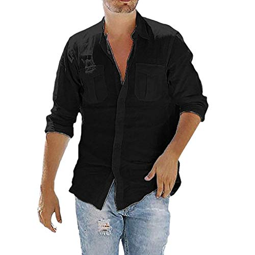 TUDUZ Camisetas Hombre Manga Larga Color Sólido Camisas Algodon Y Lino Tops Bolsillo Ropa De Cuello V (Negro, L)