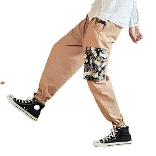 Pantalones Casuales para Hombre de Gran tamaño, Estilo étnico, con Estampado Personalizado, pies de Haz, Pantalones Harlan, Pantalones de Yoga de piernas Anchas Sueltas X-Large