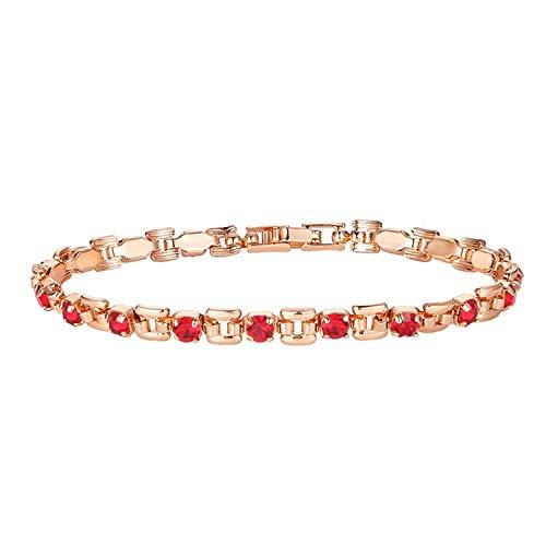 Pulsera Brazalete, Joyeria Regalo, 9 Color Women Girls Pink/Green/White/Red/Blue Cubic Zircon Stone Bracelets Wrist Square Shaped Bracelets Red 19cm