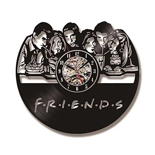 KDBWYC Friends TV Series Reloj CD Reloj de Pared con iluminación Led Reloj de Pared con Disco de Vinilo Vintage Decoración del hogar Regalo para Amigo Horloge sin Led