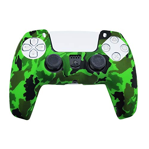 PS5 Silicone Gel Grip Controller Cover Skin (ps5 Bright Green Camo Skin) Compatible for Sony PlayStation 5, Compatible for PlayStation 5 Accessories, Wireless Controller Protector Covers, PS5 Skin
