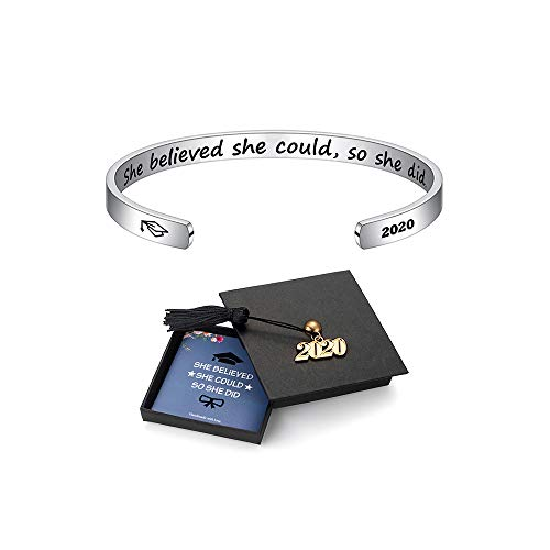 Inspirational Graduation Bracelet Women Gifts - Class of 2020 She Believed She Could So She Did Inspirational Cuff Bracelet Graduation Gifts Birthday Gifts Friendship for Her 2020 Graduation Cap