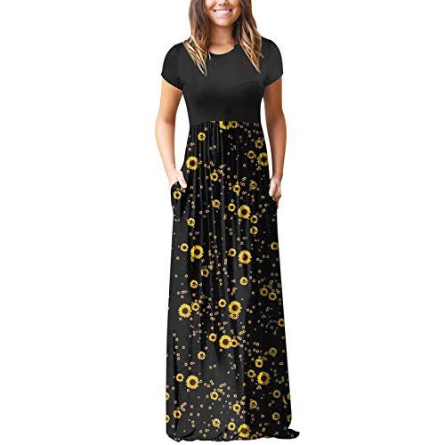 ddfd Vestido de Fiesta de Flores Bohemias para Mujer, Vestido de Costura con Estampado de Estilo Retro, Vestido de Playa Informal de Estilo Fresco de Verano