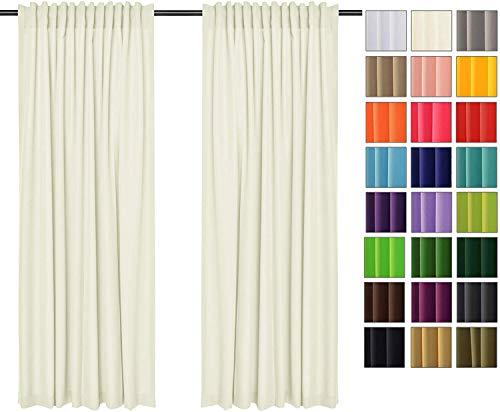 Rollmayer Vorhänge mit Tunnelband Kollektion Vivid (Ecru 2, 135x175 cm - BxH) Blickdicht Uni einfarbig Gardinen Schal für Schlafzimmer Kinderzimmer Wohnzimmer