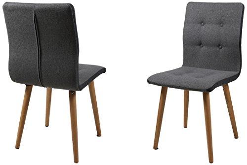 AC Design Furniture Stuhl Charlotte, B: 43 x T:55 x H: 88 cm, Stoff, Grau