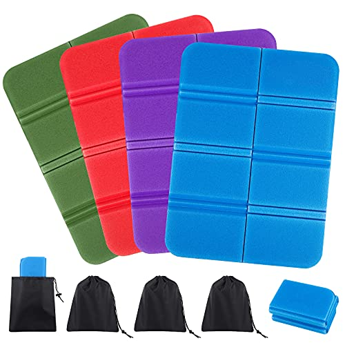 Aodaer 4 Pieces Portable Seat Cushion Mat Foldable Foam Mat Waterproof Seat Pad Outdoor Foldable Cushion Insulated Folding Foam Sit Mat for Camping Picnic Park Hiking (Red, Blue, Purple, Army Green)
