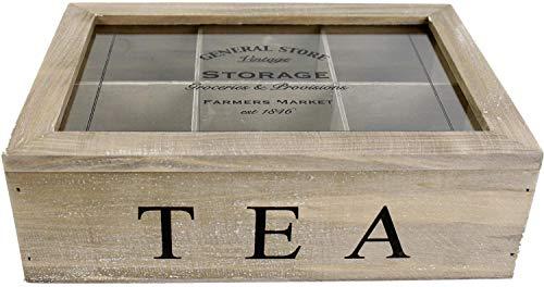 GS0011 Boîte en bois à 6 compartiments pour sachets de thé Design vintage Effet vieilli