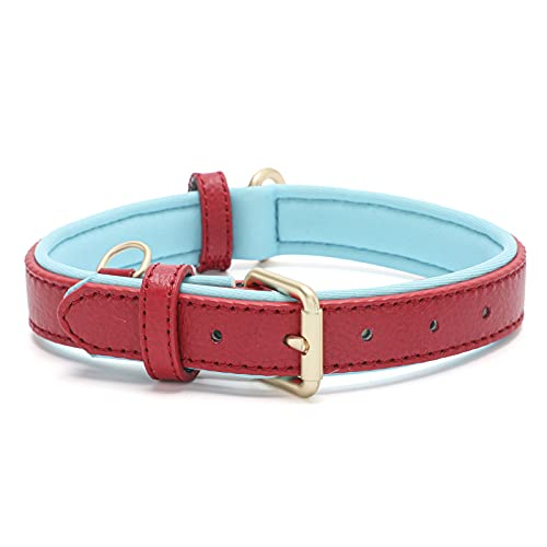 Tanpie Genuine Leather Dog Collar for Large Medium Small Dogs Classic Soft Breathable Waterproof Collars Red Small
