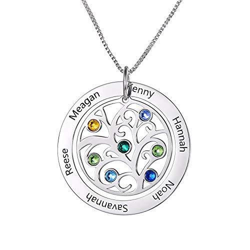 HooAMI 925 Silber Halskette Personalisierte Namenskette Lebensbaum Familienkette Mit Geburtsstein Familienbaum Halskette 1-7 Namen
