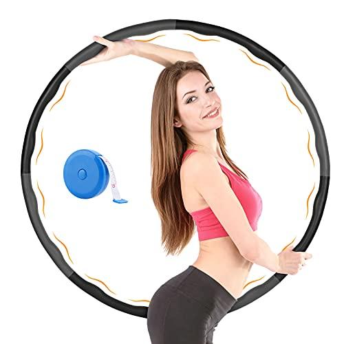KUYOU Hula Hoop, Hoola Hoop Reifen erwachseneZur Gewichtsreduktion und Massage, 6-8 Segmente Abnehmbarer Hula Hoop Reifen Geeignet Für Fitness/Sport/Zuhause/Büro/Bauchformung mit Mini Bandmaß