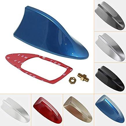 Antena decorativa para radio de coche universal de Feeldo, para techo, tipo aleta de tiburón. Con función radio FM/AM (negro)