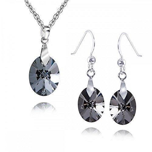 MATERIA 45 cm halsketting met dames hanger/oorbellen 925 zilver met Swarovski kristallen ovaal zwart #SWS-1