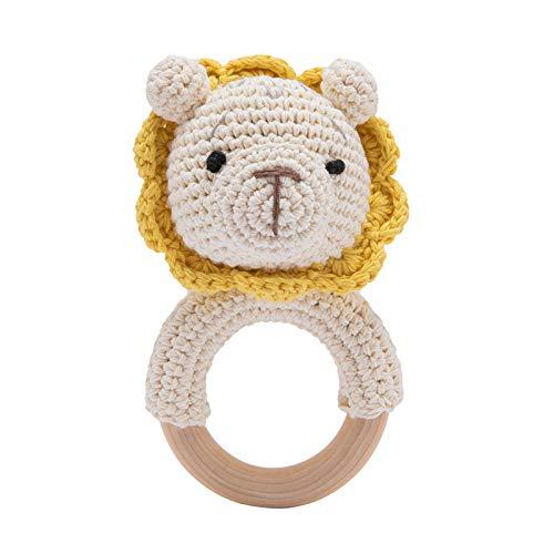 Mamimami Home Knit Baby Rattle con Massaggiagengive in legno, Giocattolo per dentizione per bambini Giocattolo da masticare in legno Stile Montessori Anello per massaggiagengive all'uncinetto