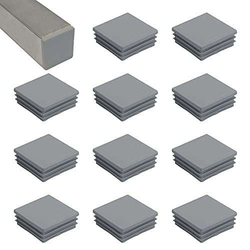 HJYZY 50mm Tappo per Tubo Quadrato grigio Cappucci Terminali Tappi Lamellari per Tubi Quadrati per Tubi di Ferro/Mobili/Trampolino/Sedia 16 pezzi