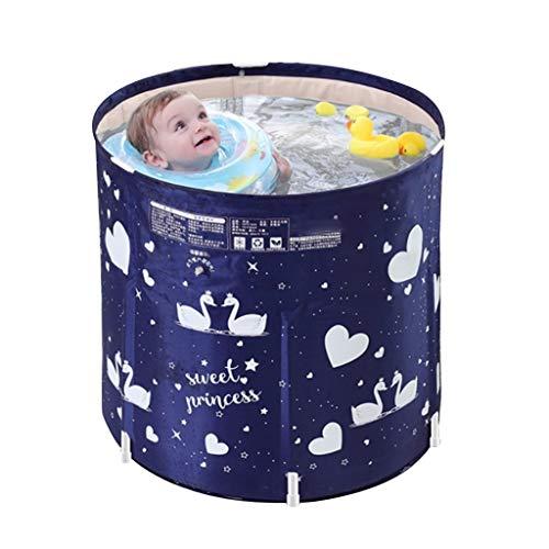 Aufblasbare Pools Kinderpool Aufblasbare Badewanne Plastikbadewanne Gesteppte Bodenisolierung Bodenkälte Isolieren (Color : Blue-b, Size : 70 * 65cm)