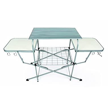Camco Deluxe Folding Grill Table, Great Picnics, Tailgating, Camping, RVing Backyards; Quick Set-up Folds Down to Only 6 Inches Tall Convenient Storage (57293)