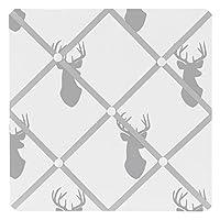 Sweet Jojo Designs Grey and White Woodland Deer Fabric Memory/Memo Photo Bulletin Board [並行輸入品]