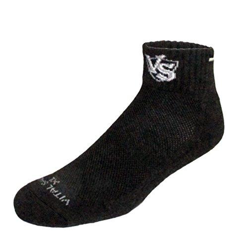 Vital Cœur Charbon de Bambou Coussin épais Sport Athlétique Chaussettes Noir Noir Black with Logo XL