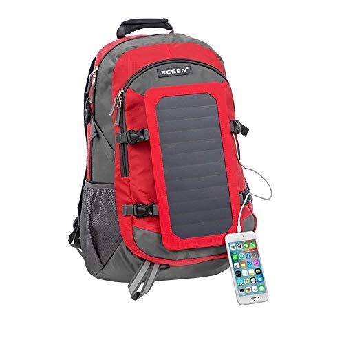 LCTS Solar-Rucksack, große Kapazität Solarpanel externen USB-Ladeanschluss im Freien Reiten Laderucksack abnehmbare Batterie Bord