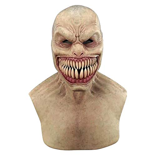 Novelty Halloween Costume Head_Masks, Creepy Wrinkle Big Mouth Headgear Latex For Cosplay Party Spoof Masquerade Parties (Style A)
