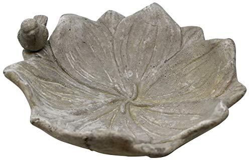 Vogeltränke Blume mit Spatz, 26 x 8 cm, Vogel-Tränke Trinkschale Vogelbad Garten