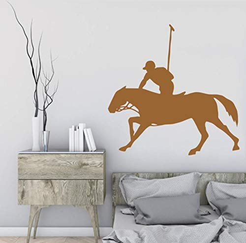 zwyluck Equestrian Man Rider Horse Art Design Wanddecoratie Creative Man Riding Horse Patroon Vinyl Wall Sticker Home Livingroom Decor 35 x 42 cm